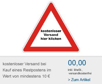 Versandkostenfreie Lieferung bei Kauf eines Restpostenartikels ab 10 €