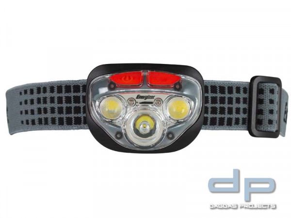 Energizer LED-Kopflampe Vision HD+ Focus, 3 weiße, 2 rote LED, 3 ...