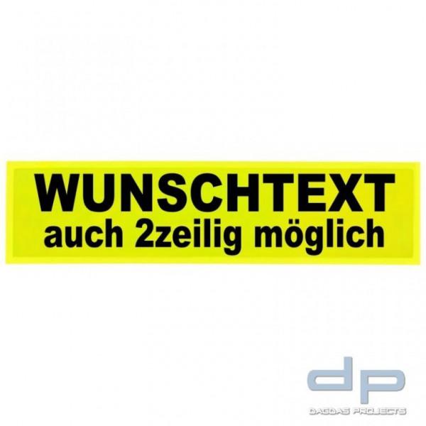 Reflexschild - glänzend - Klett - 44x11cm - leuchtgelb - Wunschtext
