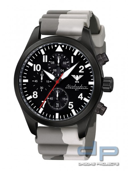 Airleader Black Steel Chronograph Band Diver Camo. Tan