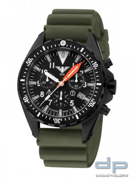 KHS MissionTimer 3 Field Chronograph Diverband Oliv