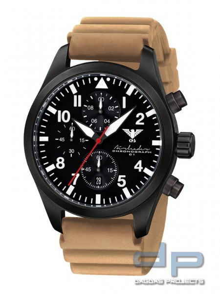 Airleader Black Steel Chronograph Band Diver Tan