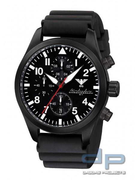 Airleader Black Steel Chronograph Band Diver Black