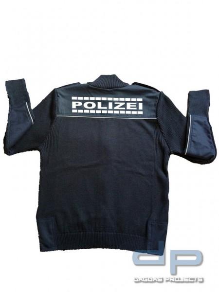 Polizei Strickjacke mit Reflexaufdruck POLIZEI umrandete Schrift